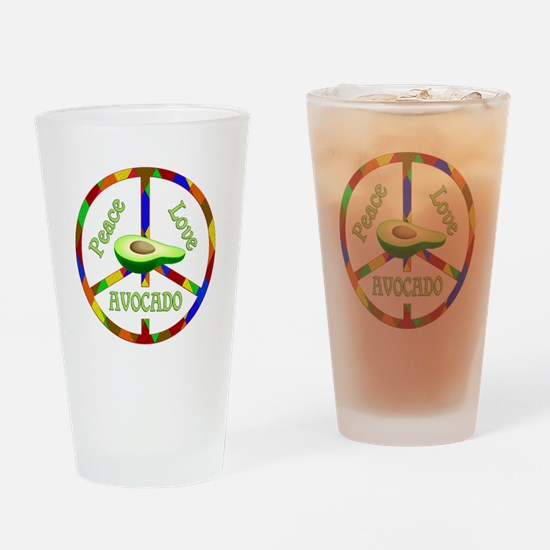 Peace Love Avocado Drinking Glass