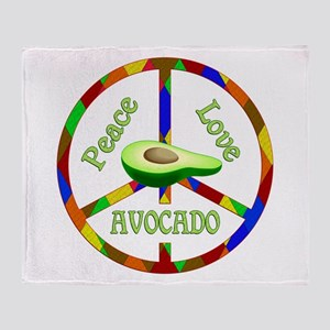 Peace Love Avocado Throw Blanket