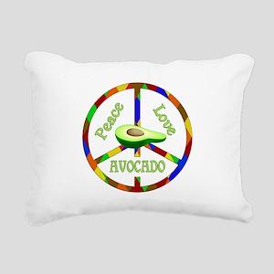 Peace Love Avocado Rectangular Canvas Pillow