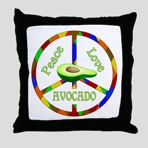 Peace Love Avocado Throw Pillow