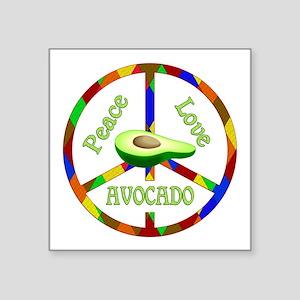 """Peace Love Avocado Square Sticker 3"""" x 3"""""""