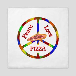 Peace Love Pizza Queen Duvet