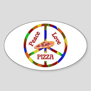 Peace Love Pizza Sticker (Oval)