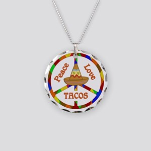 Peace Love Tacos Necklace Circle Charm