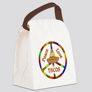 Peace Love Tacos Canvas Lunch Bag