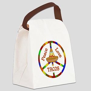 Peace Love Tacos Canvas Lunch Bag