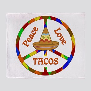 Peace Love Tacos Throw Blanket