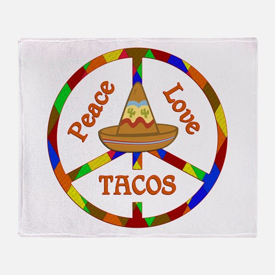 Peace Love Tacos Throw Blanket