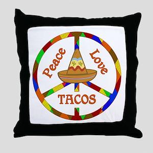 Peace Love Tacos Throw Pillow