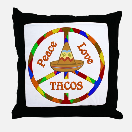 Peace Love Tacos Throw Pillow