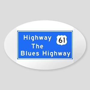 The Blues Highway 61, TN & MS Sticker (Oval)