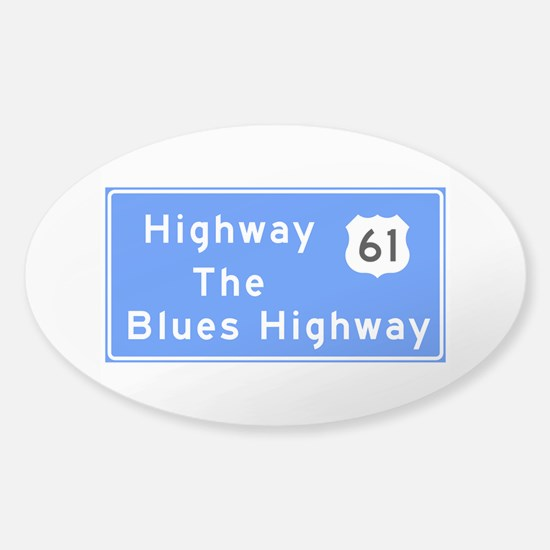 The Blues Highway 61, TN & MS Sticker (Oval)