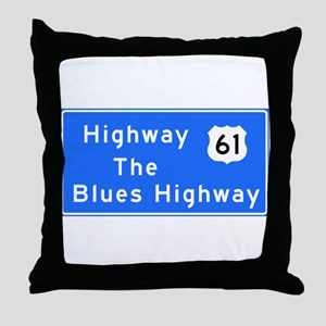 The Blues Highway 61, TN & MS Throw Pillow