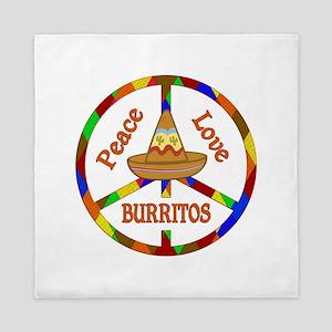 Peace Love Burritos Queen Duvet
