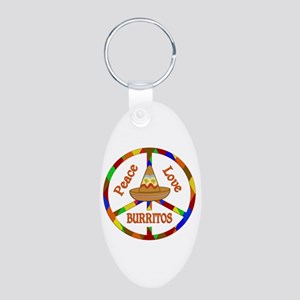 Peace Love Burritos Aluminum Oval Keychain