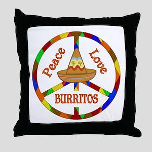 Peace Love Burritos Throw Pillow