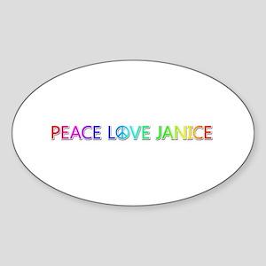 Peace Love Janice Oval Sticker