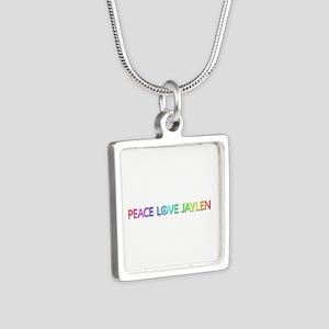 Peace Love Jaylen Silver Square Necklace