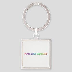 Peace Love Jaqueline Square Keychain