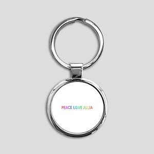 Peace Love Julia Round Keychain