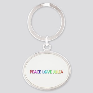 Peace Love Julia Oval Keychain