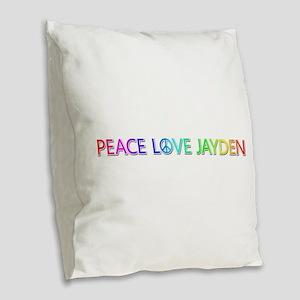 Peace Love Jayden Burlap Throw Pillow