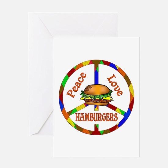 Peace Love Hamburgers Greeting Card