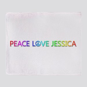 Peace Love Jessica Throw Blanket
