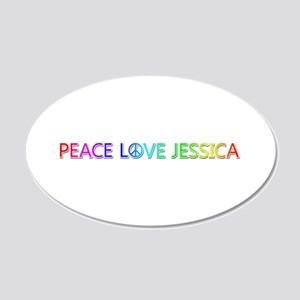 Peace Love Jessica 20x12 Oval Wall Decal