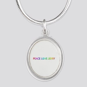 Peace Love Jerry Silver Oval Necklace