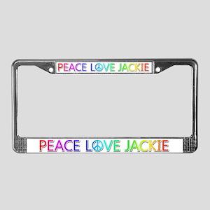 Peace Love Jackie License Plate Frame