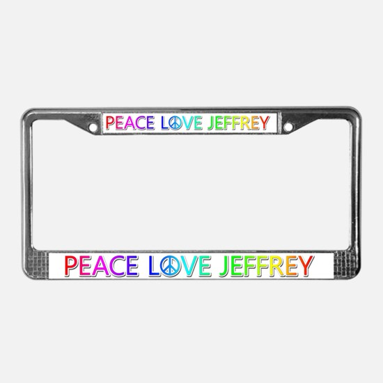 Peace Love Jeffrey License Plate Frame