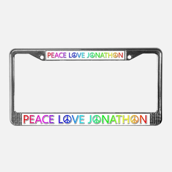Peace Love Jonathon License Plate Frame