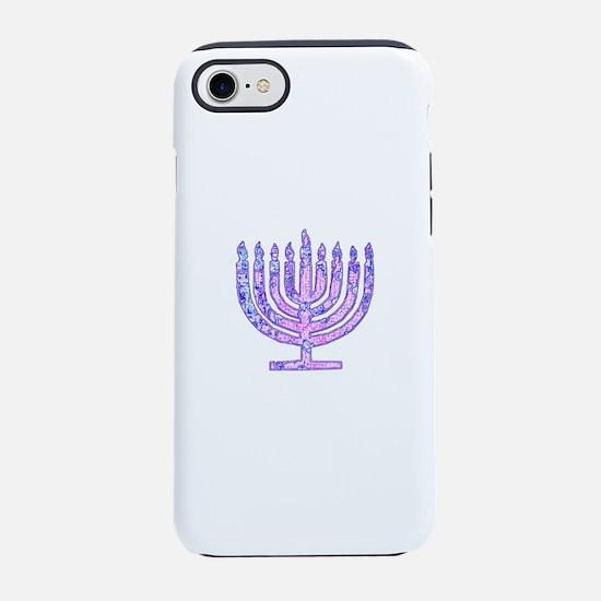 Pink Blue Vibrant Hanukkah M iPhone 8/7 Tough Case