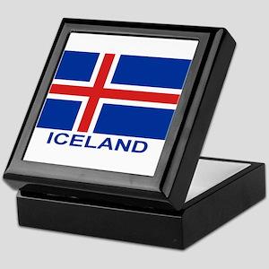iceland-flag-labeled Keepsake Box