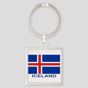 Icelandic Flag (labeled) Keychains