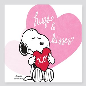 "Snoopy - Hugs and Kisses Square Car Magnet 3"" x 3"""