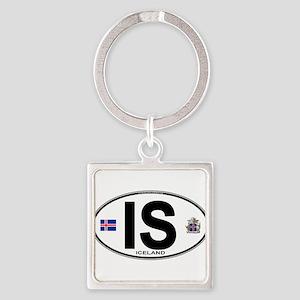 Iceland Euro Oval Keychains