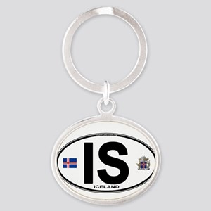 Iceland Euro Oval Keychains
