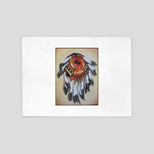 Native American Shield, Buffalo art 5'x7'Area Rug