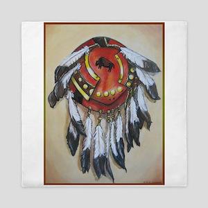 Native American Shield, Buffalo art Queen Duvet