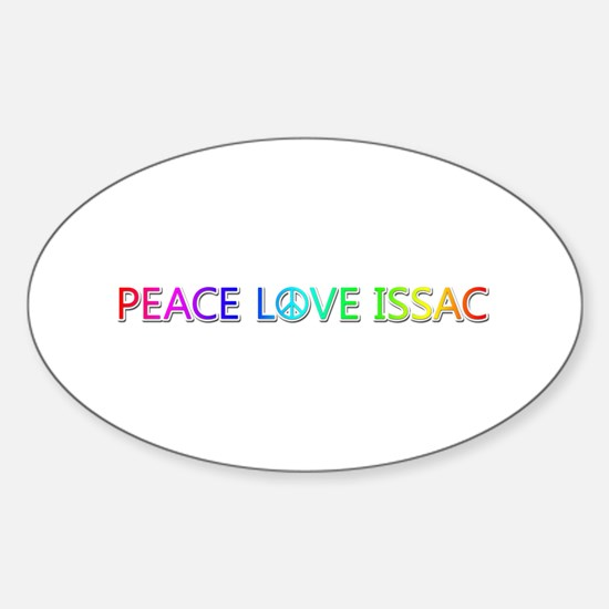 Peace Love Issac Oval Decal