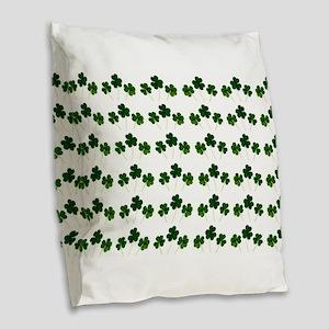 st patricks day shamrocks Burlap Throw Pillow
