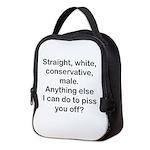 Straight, White...(bl) Neoprene Lunch Bag