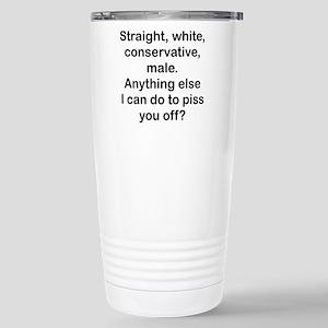 Straight, White...(BL) Travel Mug