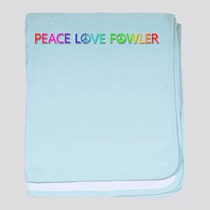 Peace Love Fowler baby blanket