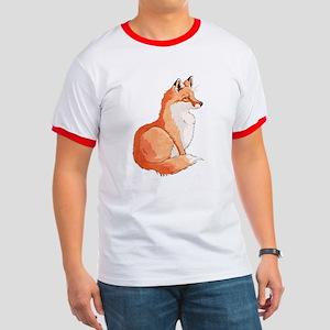 Sitting Fox Ringer T T-Shirt