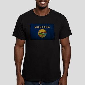 Montana State Flag VIN Men's Fitted T-Shirt (dark)
