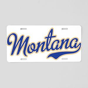 Montana Script Font Blue Aluminum License Plate