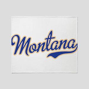 Montana Script Font Blue Throw Blanket
